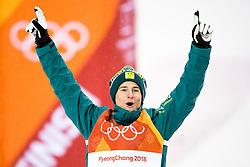 February 12, 2018 - Pyeongchang, SOUTH KOREA - 180212  Matt Graham of Australia, Silver, celebrates after the menÃ•s moguls final during day three of the 2018 Winter Olympics on February 12, 2018 in Pyeongchang..Photo: Carl Sandin / BILDBYRN / kod CS / 57999_286 (Credit Image: © Carl Sandin/Bildbyran via ZUMA Press)