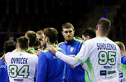 Blaz Blagotinsek of Slovenia and other players of Slovenia after the handball match between National Teams of Germany and Slovenia at Day 2 of IHF Men's Tokyo Olympic  Qualification tournament, on March 13, 2021 in Max-Schmeling-Halle, Berlin, Germany. Photo by Vid Ponikvar / Sportida