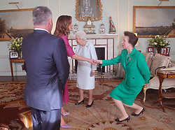The Princess Royal greets Queen Rania of Jordan, as King Abdullah II of Jordan looks on, during a private audience with Queen Elizabeth II at Buckingham Palace, London.
