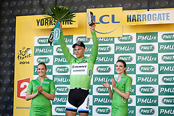 Marcel Kittel of Germany and Team Giant-Shimano celebrates with the lsprinters Green Jersey on the podium having won Stage 1 of the Tour de France in Harrogate - Photo mandatory by-line: Rogan Thomson/JMP - 07966 386802 - 05/07/2014 - SPORT - CYCLING - Harrogate, North Yorkshire - Le Tour de France Grand Depart Stage 1, Leeds to Harrogate.