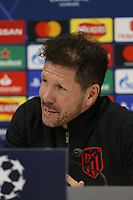 Football - 2019 / 2020 season - Liverpool training & press conference pre-Atletico Madrid<br /> <br /> Atletico coach Diego Simeone speaking to the media ahead of tomorrow's Champions League match against Liverpool, at Anfield, at Anfield.<br /> <br /> COLORSPORT/ALAN MARTIN