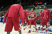 DALLAS, TX - NOVEMBER 25: Michael Qualls #24 of the Arkansas Razorbacks is announced before tip-off against the SMU Mustangs on November 25, 2014 at Moody Coliseum in Dallas, Texas.  (Photo by Cooper Neill/Getty Images) *** Local Caption *** Michael Qualls