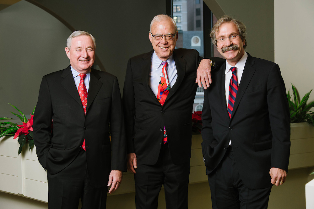 WinnCompanies COO William W. Wollinger, founder Arthur Winn, and president Lawrence H. Curtis photographed at the Millenium Hotel in Boston, MA, for the Mass Housing Annual Report.