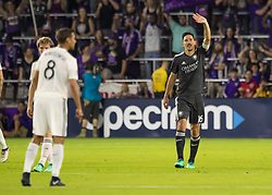 April 21, 2018 - Orlando, FL, U.S. - ORLANDO, FL - APRIL 21: Orlando City midfielder Sacha Kljestan (16) thanks the fans during the MLS soccer match between the Orlando City FC and the San Jose Earthquakes at Orlando City SC on April 21, 2018 at Orlando City Stadium in Orlando, FL. (Photo by Andrew Bershaw/Icon Sportswire) (Credit Image: © Andrew Bershaw/Icon SMI via ZUMA Press)