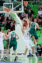 Dusan Djordjevic of Krka vs Goran Jagodnik of Union Olimpija during second semi-final match of Basketball NLB League at Final four tournament between KK Union Olimpija and Krka (SLO), on April 19, 2011 at SRC Stozice, Ljubljana, Slovenia. (Photo By Matic Klansek Velej / Sportida.com)