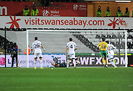Kuban Krasnodar score from a late second half penalty.<br /> UEFA Europa league match, Swansea city v FC Kuban Krasnodar at the Liberty Stadium in Swansea, South Wales on Thursday 24th October 2013. pic by Phil Rees, Andrew Orchard sports photography,