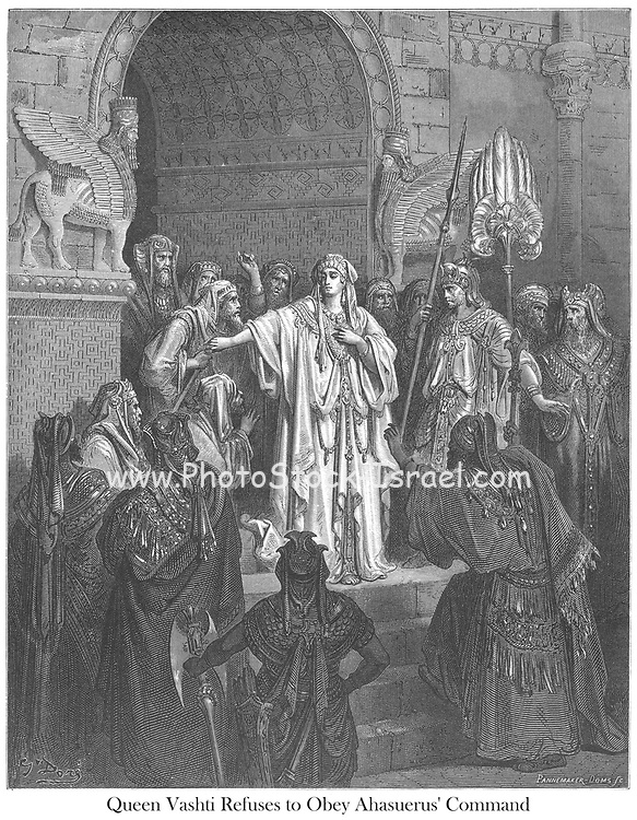 Queen Vashti Refusing to Obey King Ahasuerus Esther 1:11-12 From the book 'Bible Gallery' Illustrated by Gustave Dore with Memoir of Dore and Descriptive Letter-press by Talbot W. Chambers D.D. Published by Cassell & Company Limited in London and simultaneously by Mame in Tours, France in 1866