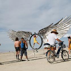 Aug. 29 2008 - Black Rock City, Nevada, USA - Festival goers explore a large art installation on the playa Friday, Aug. 29, 2008 during the Burning Man arts and culture festival in Black Rock City in the Black Rock Desert near Gerlach, Nev. (Credit Image: © David Calvert/ZUMA Press)
