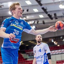 Sascha Pfattheicher (TVB Stuttgart #30) ; LIQUI MOLY HBL 20/21  1. Handball-Bundesliga: TVB Stuttgart - FRISCH AUF! Goeppingen am 24.04.2021 in Stuttgart (SCHARRena), Baden-Wuerttemberg, Deutschland,<br /> <br /> Foto © PIX-Sportfotos *** Foto ist honorarpflichtig! *** Auf Anfrage in hoeherer Qualitaet/Aufloesung. Belegexemplar erbeten. Veroeffentlichung ausschliesslich fuer journalistisch-publizistische Zwecke. For editorial use only.