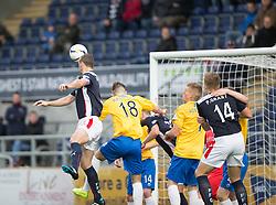 Falkirk's David McCrackenscoring their fifth goal.<br /> Falkirk 6 v 0 Cowdenbeath, Scottish Championship game played at The Falkirk Stadium, 25/10/2014.