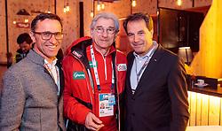 17.02.2017, Tirol Berg, Hochfilzen, AUT, Vorstellung Tour of the Alps, Pressekonferenz, im Bild Josef Margreiter, ÖSV Generalsekretär Dr. Klaus Leistner, Geschäftsführer Tirol Werbung, Franz Theurl, TVB-Obmann Osttirol // during Presentation of the Tour of the Alps Cylcling Race at the Tirol Berg, Hochfilzen, Austria on 2017/02/17. EXPA Pictures © 2017, PhotoCredit: EXPA/ JFK