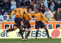 Photo: Kevin Poolman.<br />Wolverhampton Wanderers v Coventry City. Coca Cola Championship. 08/04/2006. Wolves players Paul Ince and Mark Kennedy celebrate Paul Ince's goal.