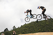 Martin Soderstom, Sweden on the right racing against Thomas Lemoine, France in the semi finals of the Mons Royal Dual Speed and Style event, Crankworx Rotorua 26.03.2015