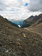 Beautiful Lake Louise in the distance from near Victoria Glacier; Banff National Park, Alberta, Canada