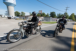Jon Dobbs (L) of Wisconsin riding his 1915 Harley-Davidson alongside Jeff Erdman of Wisconsin on his 1916 Harley-Davidson during the Motorcycle Cannonball Race of the Century. Stage-4 from Chillicothe, OH to Bloomington, IN. USA. Tuesday September 13, 2016. Photography ©2016 Michael Lichter.