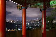 Taipei, Taiwan as seen at night from the mountains near Yonghe, Taiwan.