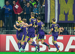 Luka Zahovic and other players of Maribor celebrate after scoring first goal for Maribor during football match between NK Maribor and Sporting Lisbon (POR) in Group G of Group Stage of UEFA Champions League 2014/15, on September 17, 2014 in Stadium Ljudski vrt, Maribor, Slovenia. Photo by Vid Ponikvar  / Sportida.com