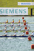 Munich, GERMANY, GBR W4X . Bow Annie VERNON, Debbie FLOOD, Frances HOUGHTON and katherine GRAINGER. At the start, during the FISA World Cup at the Munich Olympic Rowing Course, Thur's.  08.05.2008  [Mandatory Credit Peter Spurrier/ Intersport Images] Rowing Course, Olympic Regatta Rowing Course, Munich, GERMANY