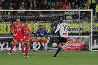 Fotball , 7. okt 2012, Tippeligaen Eliteserien , Sogndal - Lillestrøm<br /> Anders Østli, Palmi Palmason, Sead Ramovic LSK. Ørjan Hopen Sogndal<br /> Foto: Christian Blom , Digitalsport