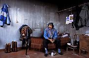 "Pedro Cárcamo, a ""gaucho"", farm worker on Jose Menedez farm near Rio  Grande. In his room, Patagonia, Argentina"