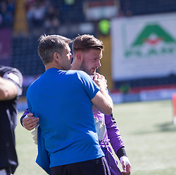 Falkirk's keeper Danny Rogers at the end. Players and fans at the end of the game. Kilmarnock 4 v 0 Falkirk, second leg of the Scottish Premiership play-off final.
