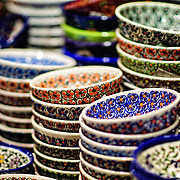 Colorfully painted ceramic plates for sale in Istanbul's historic Grand Bazaar