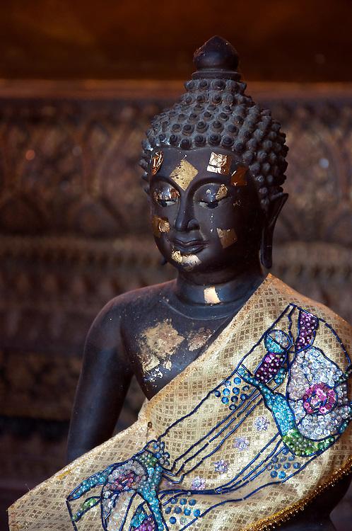 Black buddha found inside a temple, Bangkok, Thailand.