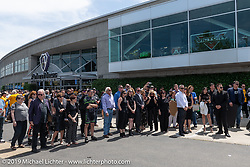 Arlen's wife Beverly Ness with her big family at the Arlen Ness Memorial - Celebration of Life at the Arlen Ness Motorcycles store. Dublin, CA, USA. Saturday, April 27, 2019. Photography ©2019 Michael Lichter.