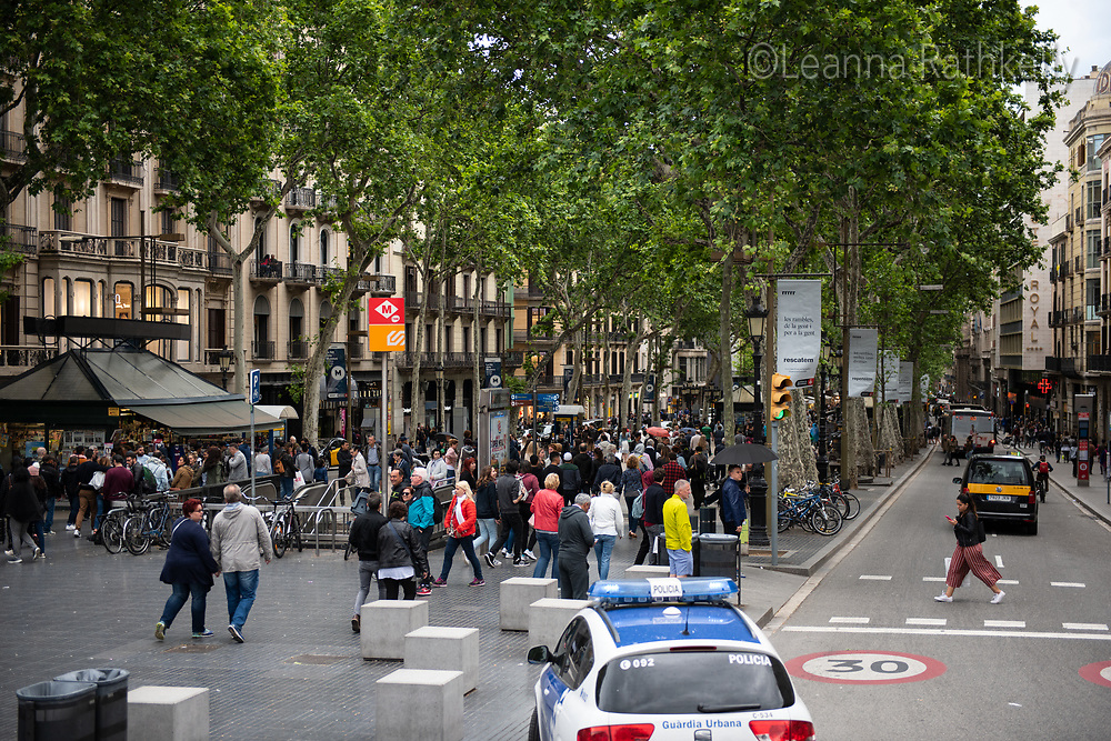 The Ramblas road in Barcelona attracts thousands of walkers and shoppers along its wide tree-lined pedestrian walkway.