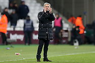 Jose Mourinho, the Manchester United manager applauds the Manchester United fans after full time but doesn't look too happy with the win. . Premier league match, West Ham Utd v Manchester Utd at the London Stadium, Queen Elizabeth Olympic Park in London on Monday 2nd January 2017.<br /> pic by John Patrick Fletcher, Andrew Orchard sports photography.