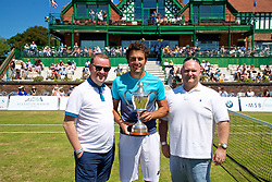 LIVERPOOL, ENGLAND - Sunday, June 24, 2018: Alessandro Giannessi (ITA) with Neil McGonigle, Head of Cities, Uber, left and Paul McCracken, Freeway Insurance during day four of the Williams BMW Liverpool International Tennis Tournament 2018 at Aigburth Cricket Club. (Pic by Paul Greenwood/Propaganda)