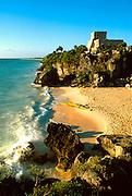 MEXICO, MAYAN, YUCATAN Tulum; 'El Castillo' above Caribbean