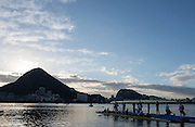 """Rio de Janeiro. BRAZIL.  GBR M8+ and GBR W8+ Boating.  General View at the sunrise in the boating park at the 2016 Olympic Rowing Regatta. Lagoa Stadium,<br /> Copacabana,  """"Olympic Summer Games""""<br /> Rodrigo de Freitas Lagoon, Lagoa.   Thursday  11/08/2016 <br /> <br /> [Mandatory Credit; Peter SPURRIER/Intersport Images]"""