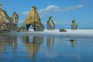 Oceania, New Zealand, Aotearoa, North Island, Taranaki Coast, New Plymouth, White Cliffs, Three Sisters Rocks,