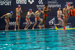 Team Netherlands before the match against Croatia during the Olympic qualifying tournament. The Dutch water polo players are on the hunt for a starting ticket for the Olympic Games on February 15, 2021 in Rotterdam