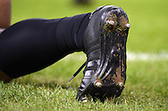 a close up view of the boots and socks of an All Black player. Rugby World Cup 2015 quarter-final match, New Zealand v France at the Millennium Stadium in Cardiff, South Wales  on Saturday 17th October 2015.<br /> pic by  Andrew Orchard, Andrew Orchard sports photography.