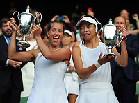 Tennis - 2019 Wimbledon Championships - Week Two, Sunday (Day Thirteen)<br /> <br /> Ladies doubles, Final: Su - Wei Hsieh (TPE) and Barbora Strycova (CZE) v Gabriela Dabrowski (CAN) and Yifan Xu (CHN)<br /> <br /> Su - Wei Hsieh and Barbora Strycova, with their winners trophies on Centre Court.<br /> <br /> COLORSPORT/ANDREW COWIE
