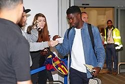 Samuel Umtit of FC Barcelona arrives at Manchester Airport - Mandatory by-line: Matt McNulty/JMP - 31/10/2016 - FOOTBALL - Manchester Airport - Manchester, England - Manchester City v Barcelona - UEFA Champions League - Group C