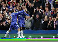 Photo: Lee Earle.<br /> Chelsea v Watford. The Barclays Premiership. 11/11/2006. Chelsea's Andriy Shevchenko (L) congratulates Didier Drogba after his second.