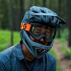 Pete Hoang post crash on Race of Spades at Moose Mountain in Alberta, Canada