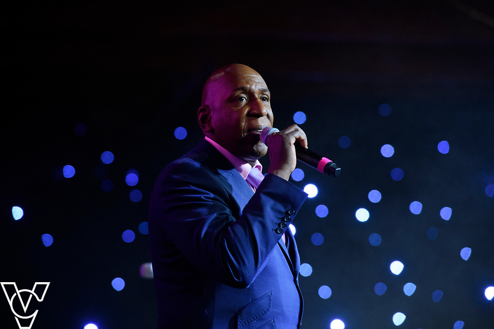 Colin McFarlane on stage during the Lincoln City Football Club's 2018-19 End of Season Awards dinner<br /> <br /> Lincoln City Football Club's 2018-19 End of Season Awards dinner, sponsored by the University of Lincoln, held at the Lincolnshire Showground.<br /> <br /> Picture: Chris Vaughan/Chris Vaughan Photography for Lincoln City Football Club<br /> Date: May 5, 2019