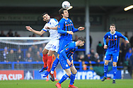 MJ Williams wins the ball during the The FA Cup 2nd round match between Rochdale and Portsmouth at Spotland, Rochdale, England on 2 December 2018.