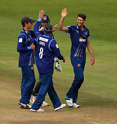 Gloucestershire's David Payne celebrates taking the wicket Durham's Gordon Muchall - Mandatory by-line: Robbie Stephenson/JMP - 07966386802 - 04/08/2015 - SPORT - CRICKET - Bristol,England - County Ground - Gloucestershire v Durham - Royal London One-Day Cup