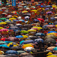 A sea of umbrellas open during June protests in Hong Kong. Protesters are opposed to a controversial extradition bill.