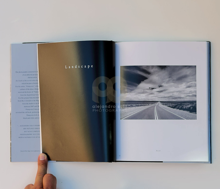 Patagonia Unknown (pag 14-15), book published in conjunction with the Photography Exhibition in 2019 - at Art Gallerie- Consulate General of Argentina- in New York, USA. Photographs by by Alejandro Sala