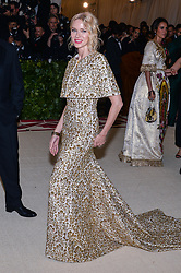 Naomi Watts walking the red carpet at The Metropolitan Museum of Art Costume Institute Benefit celebrating the opening of Heavenly Bodies : Fashion and the Catholic Imagination held at The Metropolitan Museum of Art  in New York, NY, on May 7, 2018. (Photo by Anthony Behar/Sipa USA)