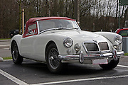 White bMGA sports car front view