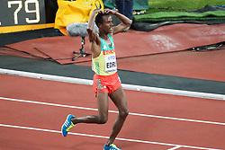London, August 12 2017 . Muktar Edris, Ethiopia, after winning the men's 5000m final on day nine of the IAAF London 2017 world Championships at the London Stadium. © Paul Davey.