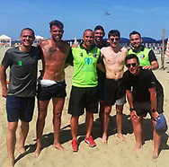 Formula 1 driver Charles Le Clerc playing beach soccer