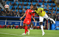 England's Raheem Sterling and Colombia's Davinson Sanchez during the 1/8 final game between Colombia and England at the 2018 FIFA World Cup in Moscow, Russia on July 3, 2018. Photo by Lionel Hahn/ABACAPRESS.COM
